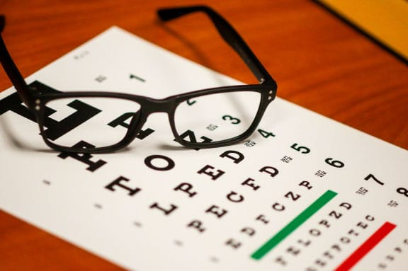 Eye Chart and Glasses - Vision Problems